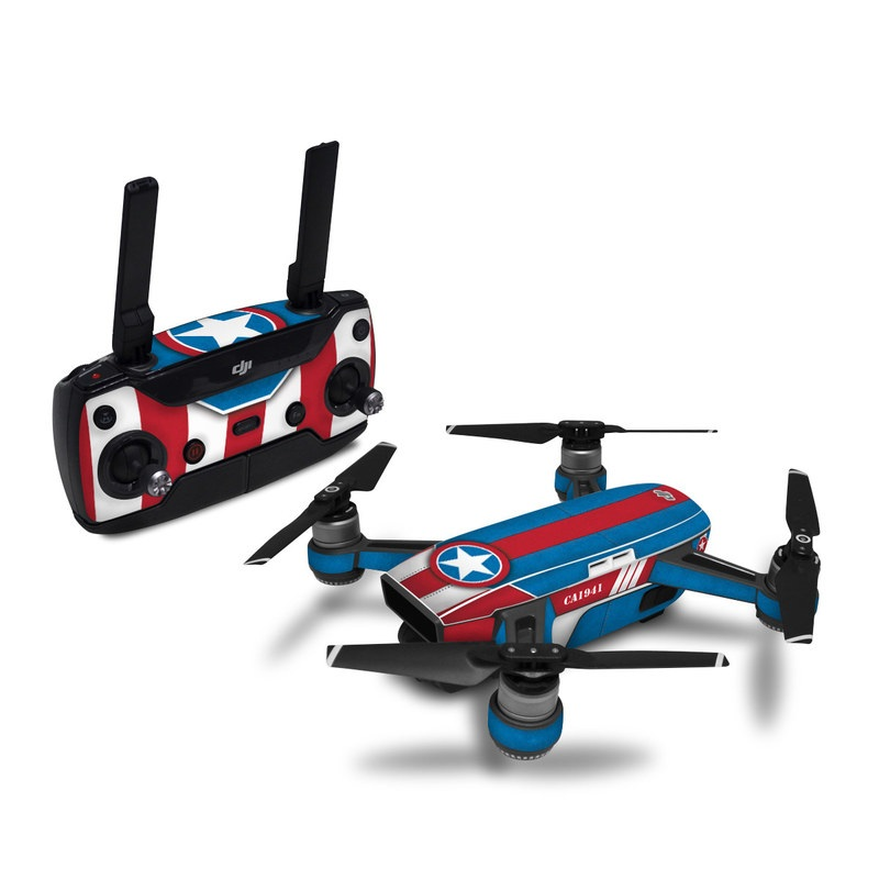 DJI Spark Skin design with white, blue, red colors