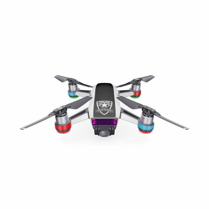 DJI Spark Skin design with white, black, red colors