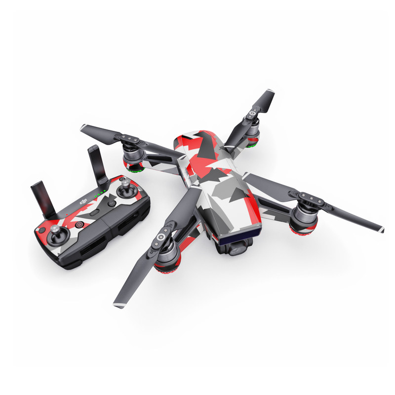 DJI Spark Skin design with red, white, black, gray colors
