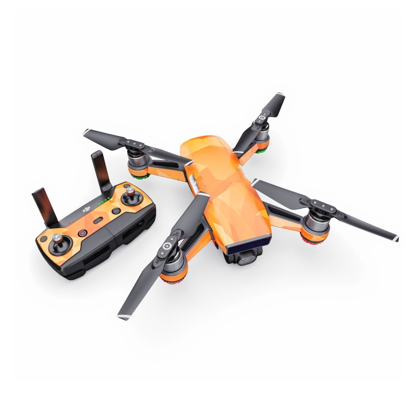 DJI Spark Skin design of Orange, Pattern, Peach, Line, Design, Triangle with orange colors
