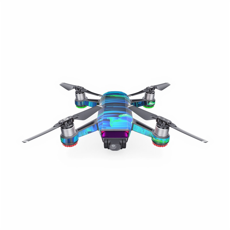 DJI Spark Skin design of Blue, Green, Turquoise, Light, Colorfulness, Electric blue with blue, green, black, white colors