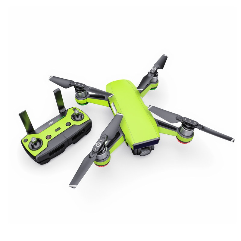 DJI Spark Skin design of Green, Yellow, Text, Leaf, Font, Grass with green colors