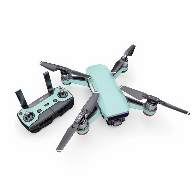DJI Spark Skin design of Green, Blue, Aqua, Turquoise, Teal, Azure, Text, Daytime, Yellow, Sky with blue colors