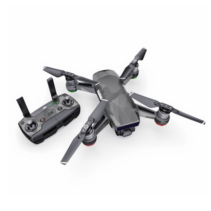 DJI Spark Skin design of Black, Pattern, Triangle, Black-and-white, Monochrome, Grey, Design, Line, Architecture, Monochrome photography with black, gray colors