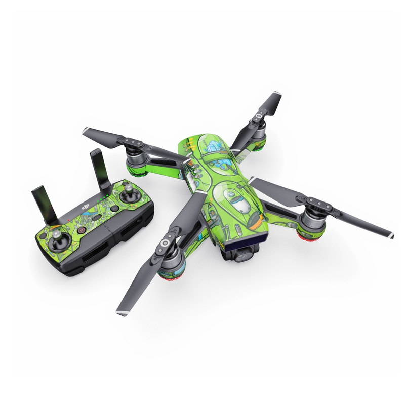 DJI Spark Skin design of Green, Pattern, Yellow, Design, Illustration, Plant, Art, Graphic design, Urban design with green, blue, gray, yellow, orange colors