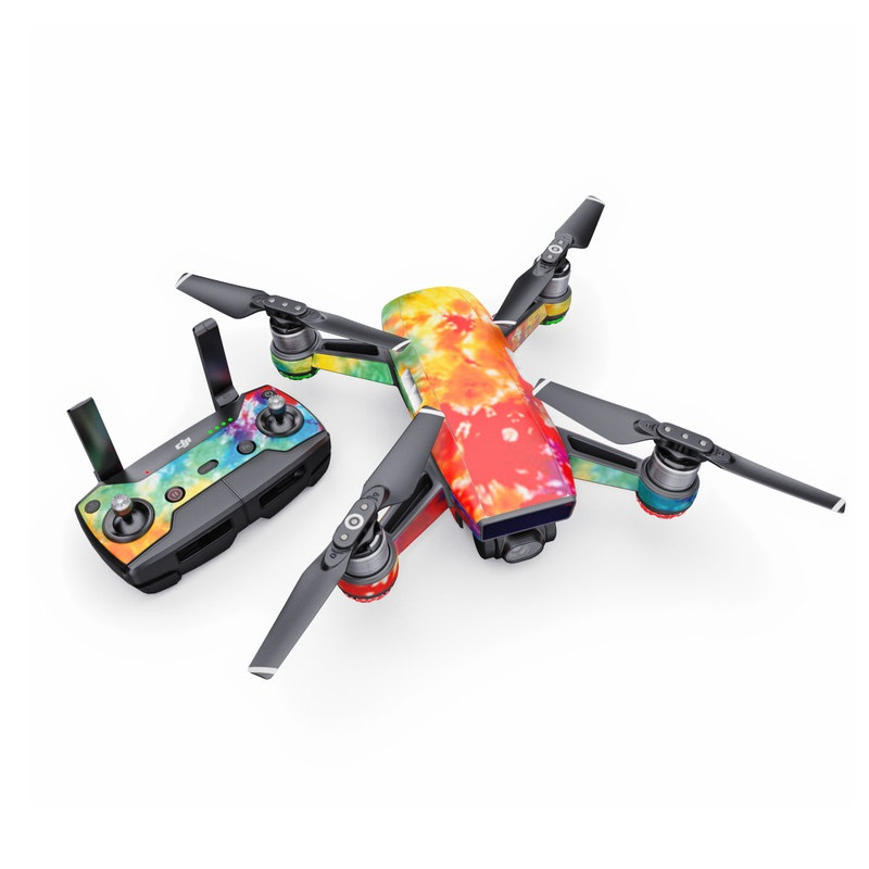 DJI Spark Skin design of Orange, Watercolor paint, Sky, Dye, Acrylic paint, Colorfulness, Geological phenomenon, Art, Painting, Organism with red, orange, blue, green, yellow, purple colors