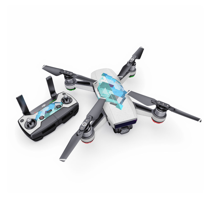 DJI Spark Skin design of Blue, Turquoise, Illustration, Graphic design, Design, Line, Logo, Triangle, Graphics with gray, blue, purple colors