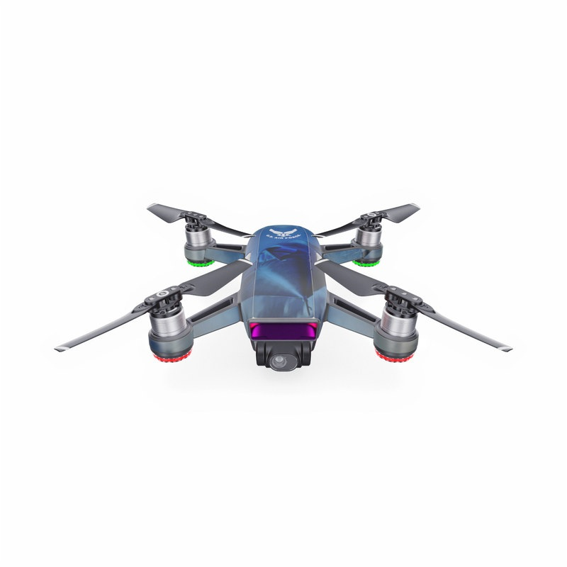DJI Spark Skin design of Airplane, Propeller, Aircraft, Sky, Vehicle, Aerospace engineering, Experimental aircraft, Military aircraft, Aviation with black, blue, gray colors