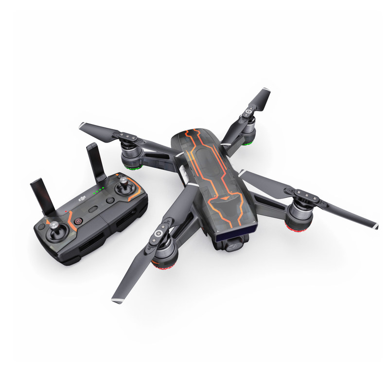 DJI Spark Skin design with black, gray, orange colors