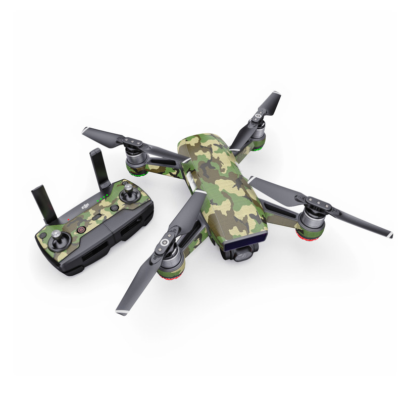 DJI Spark Skin design of Military camouflage, Camouflage, Clothing, Pattern, Green, Uniform, Military uniform, Design, Sportswear, Plane with black, gray, green colors