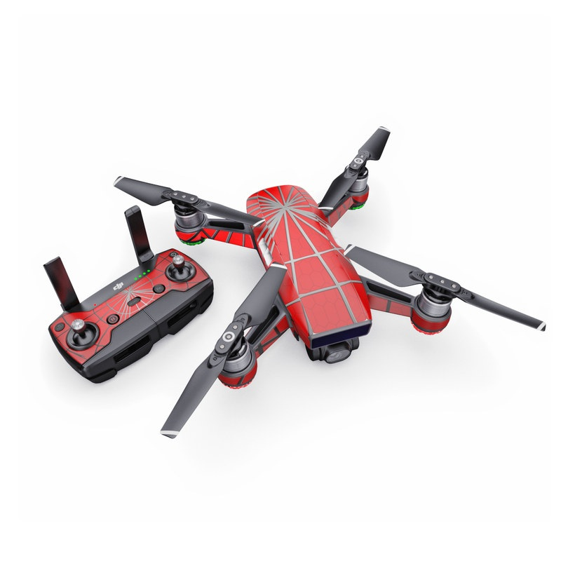 DJI Spark Skin design of Red, Symmetry, Circle, Pattern, Line with red, black, gray colors