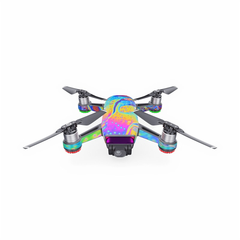 DJI Spark Skin design of Psychedelic art, Blue, Pattern, Art, Visual arts, Water, Organism, Colorfulness, Design, Textile with gray, blue, orange, purple, green colors