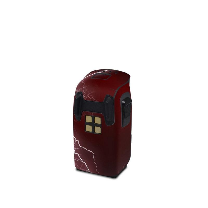 DJI Spark Battery Skin design of Thunder, Thunderstorm, Lightning, Red, Nature, Sky, Atmosphere, Geological phenomenon, Lighting, Atmospheric phenomenon with red, black, white colors