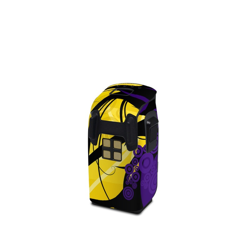 DJI Spark Battery Skin design of Yellow, Pattern, Floral design, Purple, Graphic design, Design, Wallpaper, Art, Illustration, Visual arts with orange, yellow, black, purple colors