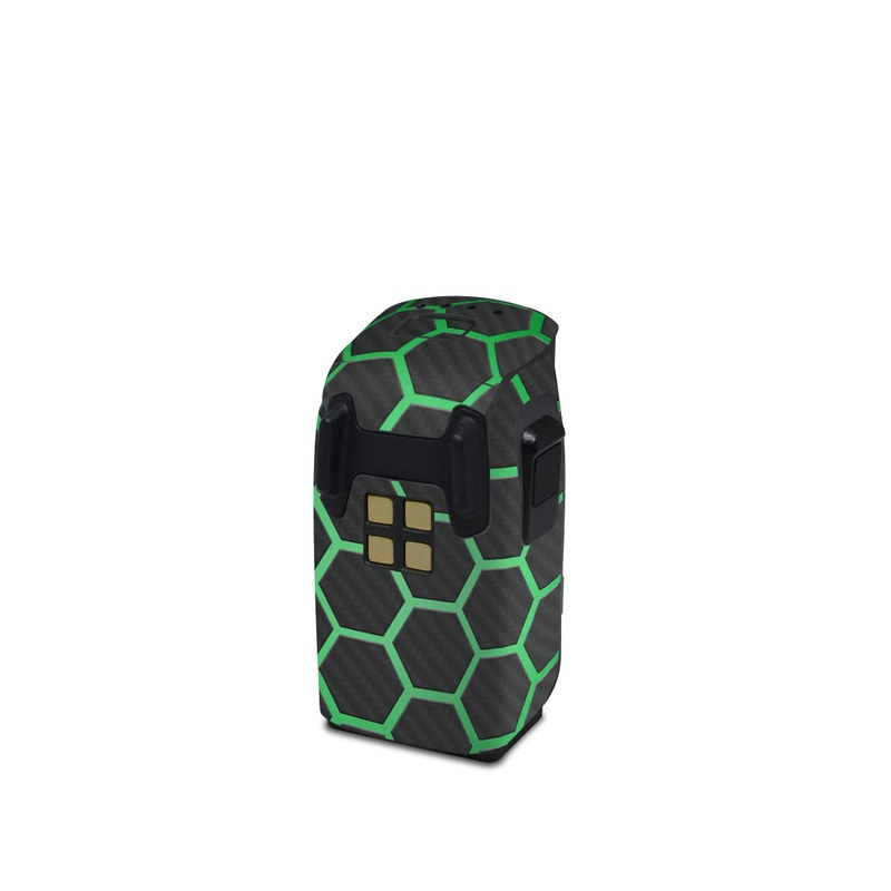 DJI Spark Battery Skin design of Pattern, Metal, Design, Carbon, Space, Circle with black, gray, green colors