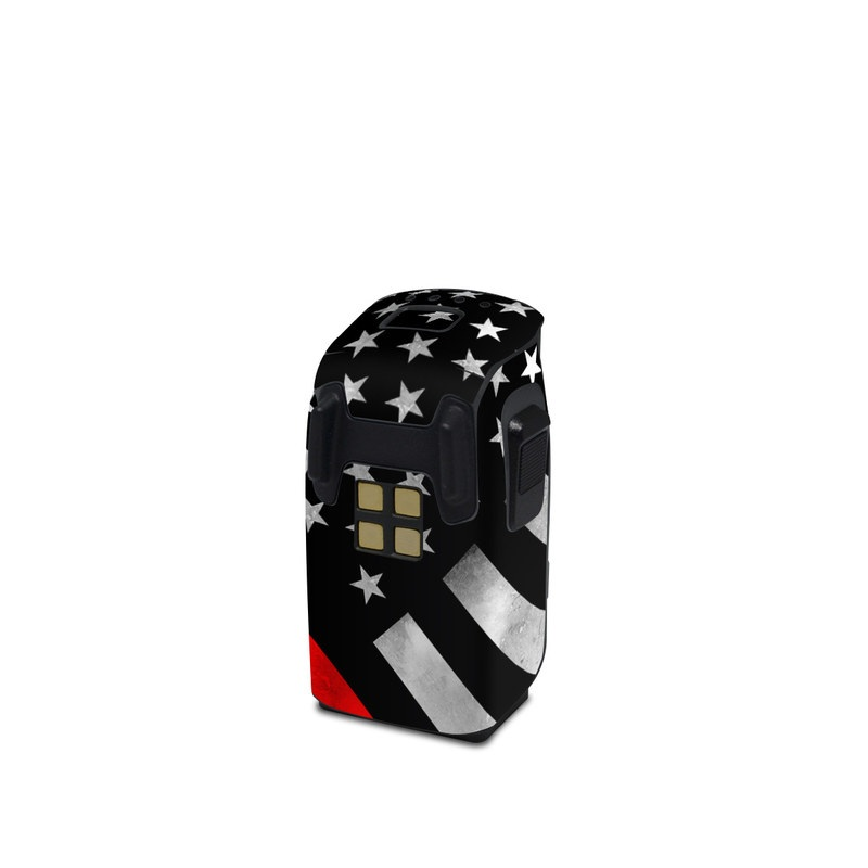 DJI Spark Battery Skin design of Flag of the united states, Flag, Line, Black-and-white, Pattern, Flag Day (USA), Veterans day, Independence day, Memorial day with black, white, gray, red colors