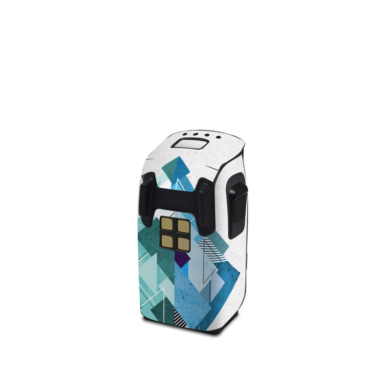 DJI Spark Battery Skin design of Blue, Turquoise, Illustration, Graphic design, Design, Line, Logo, Triangle, Graphics with gray, blue, purple colors