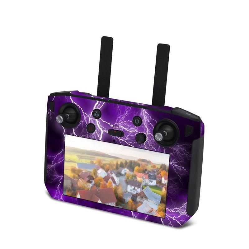 DJI Smart Controller Skin design of Thunder, Lightning, Thunderstorm, Sky, Nature, Purple, Violet, Atmosphere, Storm, Electric blue with purple, black, white colors