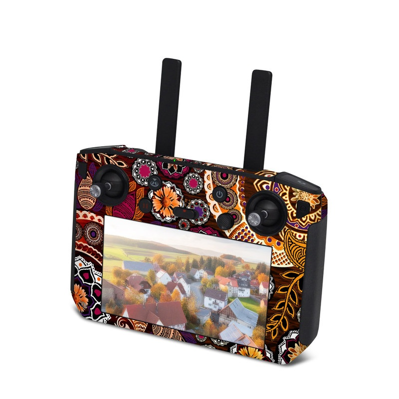 DJI Smart Controller Skin design of Pattern, Motif, Visual arts, Design, Art, Floral design, Textile, Paisley, Tapestry, Circle with brown, purple, red, white, black colors