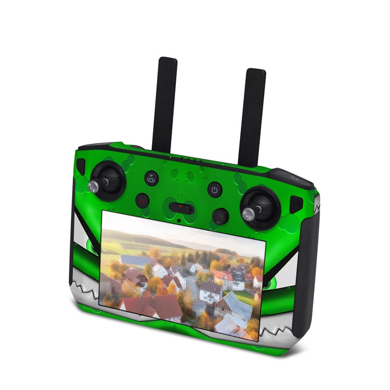 DJI Smart Controller Skin design of Green, Font, Animation, Logo, Graphics, Games with green, white colors