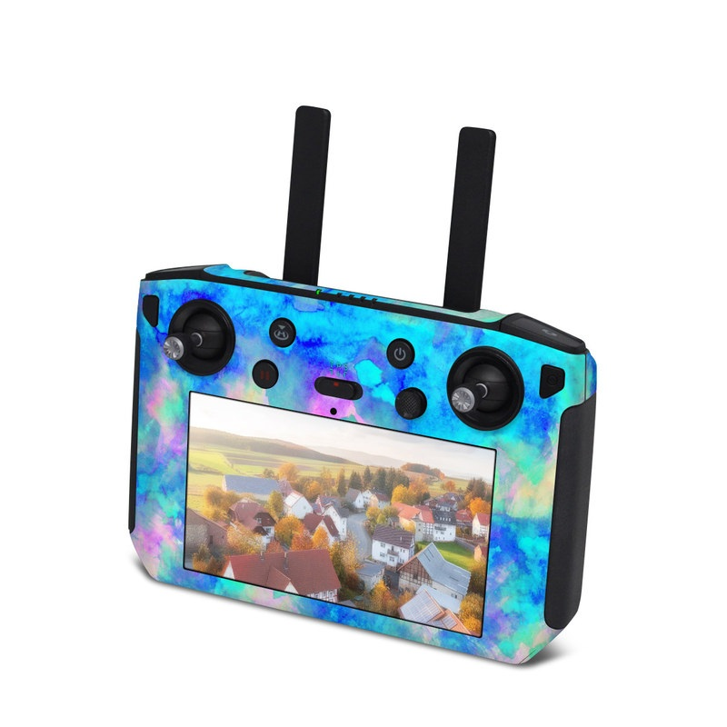 DJI Smart Controller Skin design of Blue, Turquoise, Aqua, Pattern, Dye, Design, Sky, Electric blue, Art, Watercolor paint with blue, purple colors