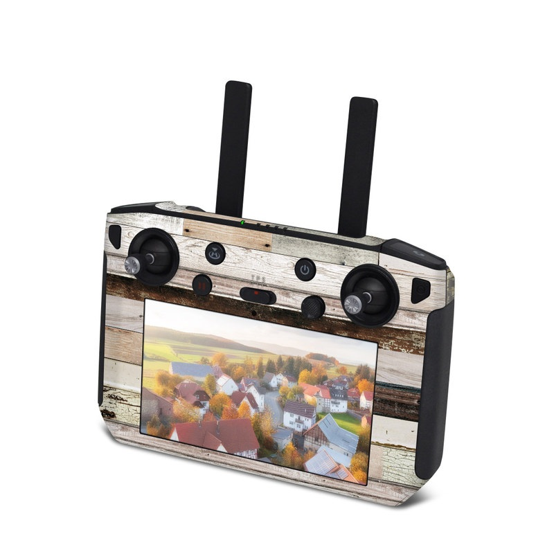 DJI Smart Controller Skin design of Wood, Wall, Plank, Line, Lumber, Wood stain, Beige, Parallel, Hardwood, Pattern with brown, white, gray, yellow colors