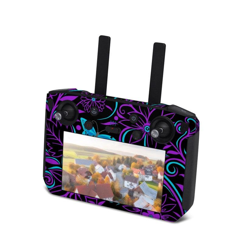 DJI Smart Controller Skin design of Pattern, Purple, Violet, Turquoise, Teal, Design, Floral design, Visual arts, Magenta, Motif with black, purple, blue colors