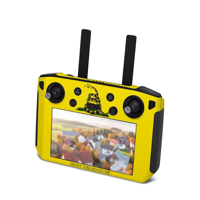 DJI Smart Controller Skin design of Yellow, Font, Logo, Graphics, Illustration with orange, black, green colors