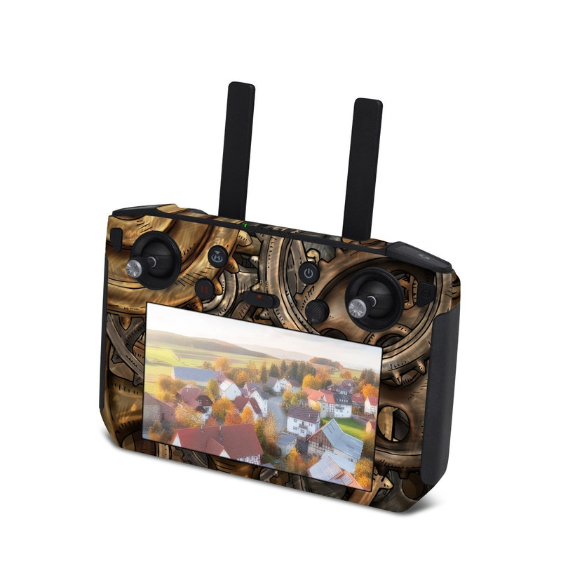 DJI Smart Controller Skin design of Metal, Auto part, Bronze, Brass, Copper with black, red, green, gray colors