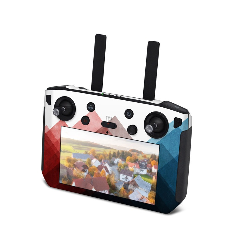 DJI Smart Controller Skin design of Blue, Red, Sky, Pink, Line, Architecture, Font, Graphic design, Colorfulness, Illustration with red, pink, blue colors