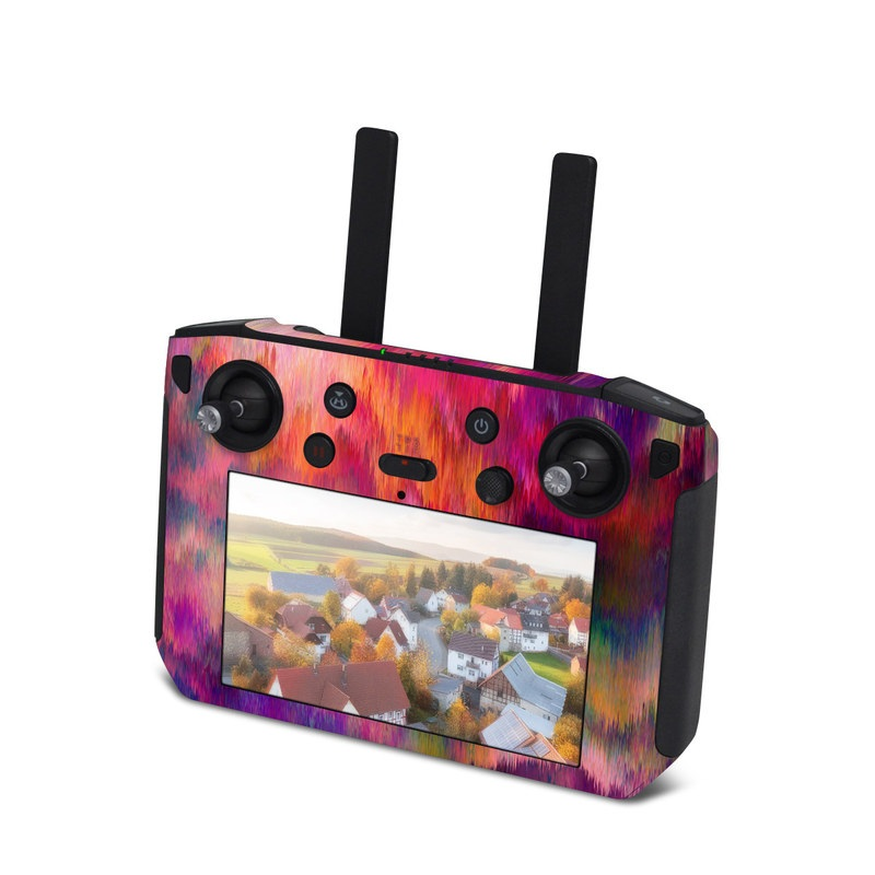 DJI Smart Controller Skin design of Sky, Purple, Pink, Blue, Violet, Painting, Watercolor paint, Lavender, Cloud, Art with red, blue, purple, orange, green colors