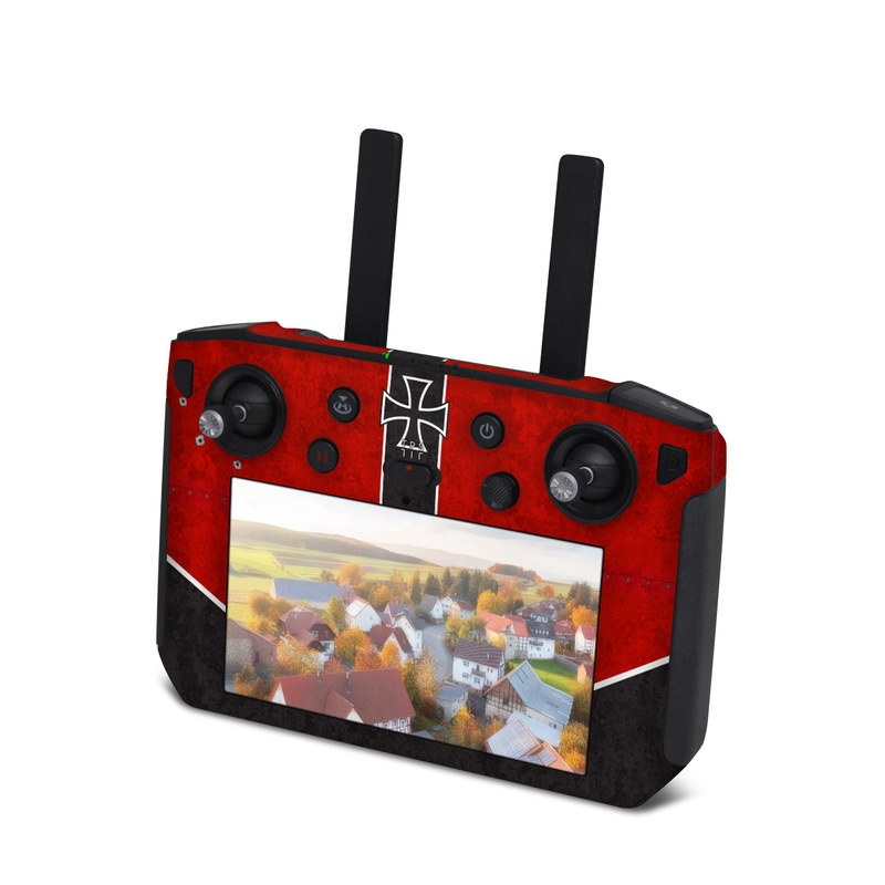 DJI Smart Controller Skin design of Bullet, Holes, War, Red, Text, Carmine, Colorfulness, Maroon, Symbol, Coquelicot with red, black, white, gray colors