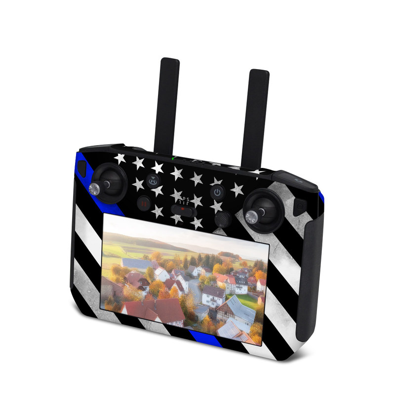 DJI Smart Controller Skin design of Flag of the united states, Flag, Cobalt blue, Pattern, Line, Black-and-white, Design, Monochrome, Electric blue, Parallel with black, white, gray, blue colors