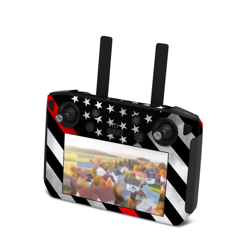 DJI Smart Controller Skin design of Flag of the united states, Flag, Line, Black-and-white, Pattern, Flag Day (USA), Veterans day, Independence day, Memorial day with black, white, gray, red colors