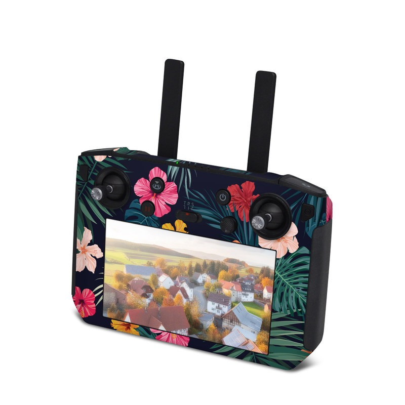 DJI Smart Controller Skin design of Hawaiian hibiscus, Flower, Pattern, Plant, Leaf, Floral design, Botany, Design, Hibiscus, Petal with black, green, red, pink, orange, yellow, white colors