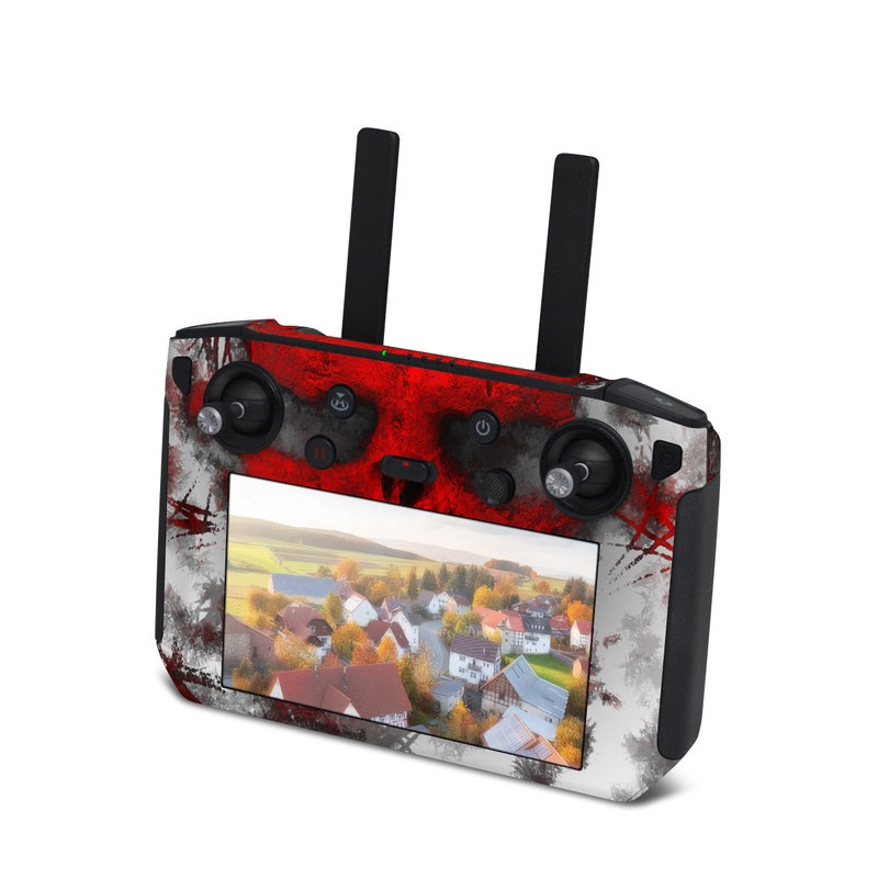 DJI Smart Controller Skin design of Red, Graphic design, Skull, Illustration, Bone, Graphics, Art, Fictional character with red, gray, black, white colors