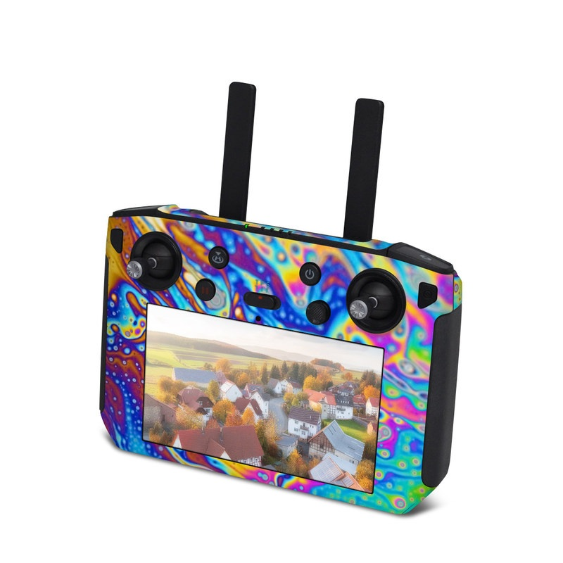 DJI Smart Controller Skin design of Psychedelic art, Blue, Pattern, Art, Visual arts, Water, Organism, Colorfulness, Design, Textile with gray, blue, orange, purple, green colors