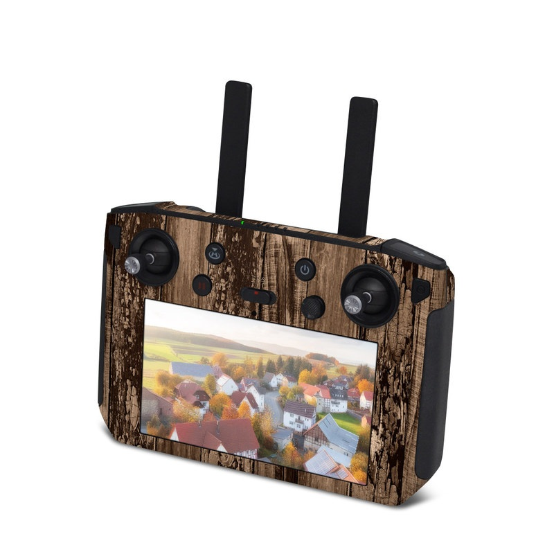 DJI Smart Controller Skin design of Wood, Tree, Brown, Plank, Trunk, Pattern, Line, Hardwood, Black-and-white, Forest with brown, black colors