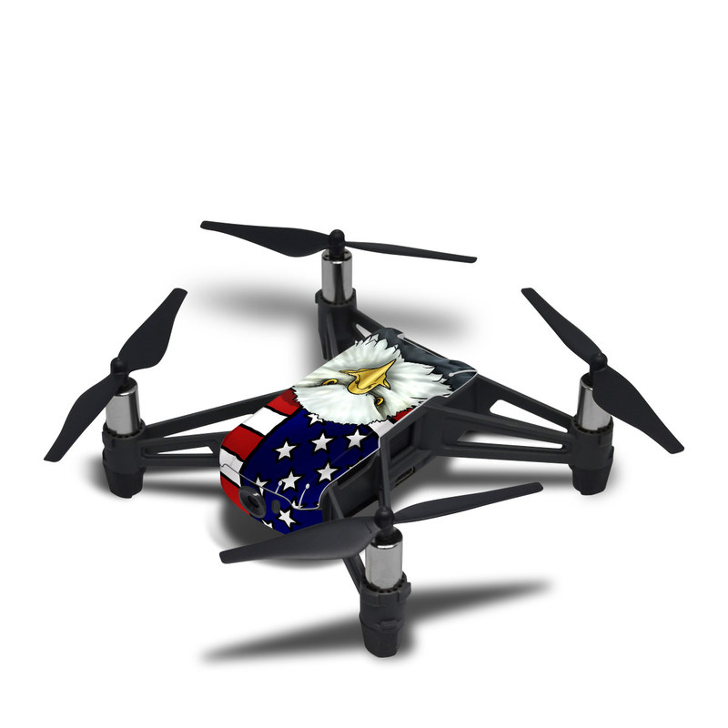 DJI Tello Skin design of Bald eagle, Eagle, Bird, Bird of prey, Accipitridae, Beak, Accipitriformes, Sea eagle, Flag with white, gray, blue, yellow, red colors