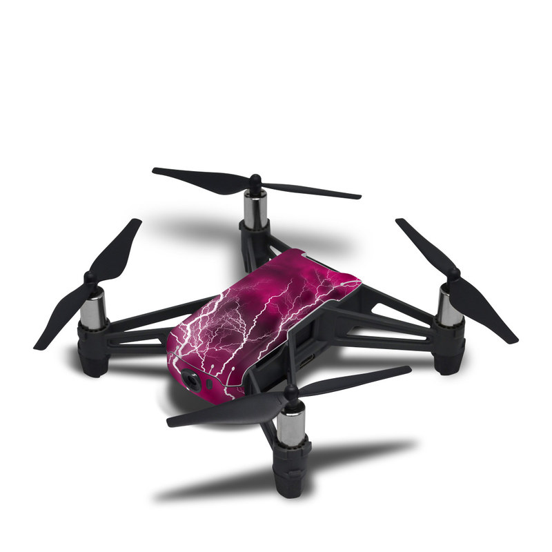 DJI Tello Skin design of Thunder, Lightning, Thunderstorm, Sky, Nature, Purple, Red, Atmosphere, Violet, Pink with pink, black, white colors