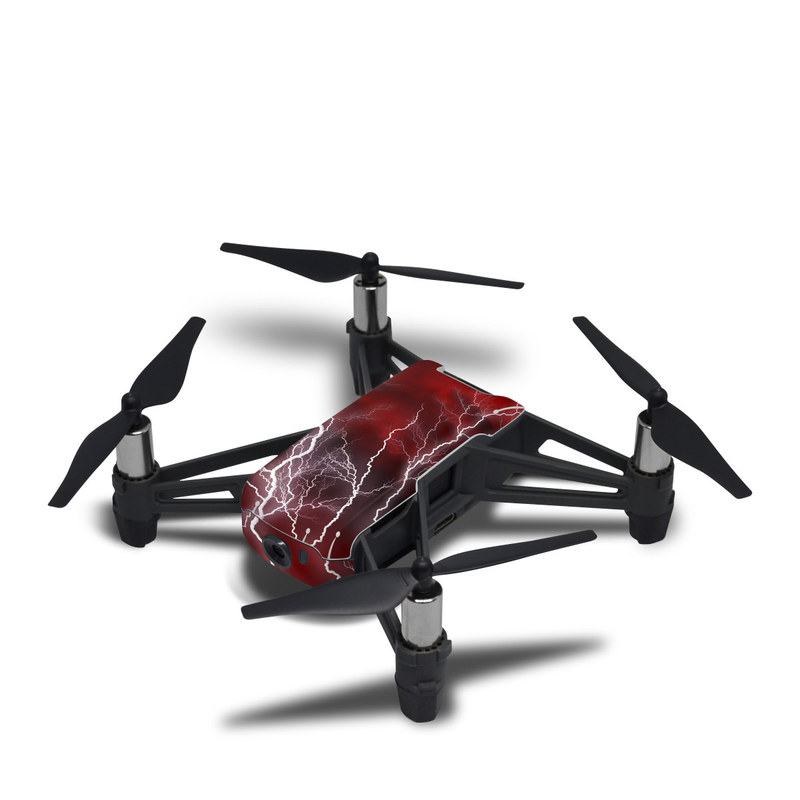 DJI Tello Skin design of Thunder, Thunderstorm, Lightning, Red, Nature, Sky, Atmosphere, Geological phenomenon, Lighting, Atmospheric phenomenon with red, black, white colors