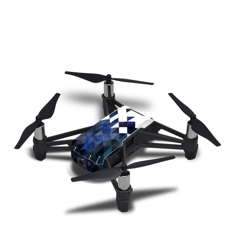 DJI Tello Skin design of Text, Pattern, Graphic design, Font, Purple, Design, Line, Triangle, Logo, Graphics with black, blue, white colors