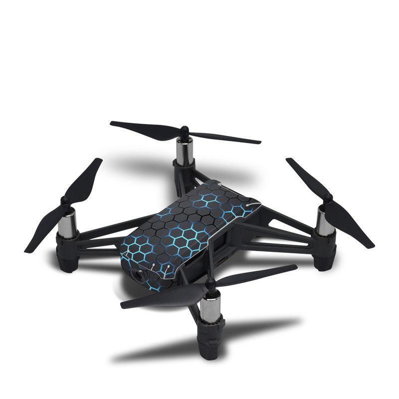 DJI Tello Skin design of Pattern, Water, Design, Circle, Metal, Mesh, Sphere, Symmetry with black, gray, blue colors