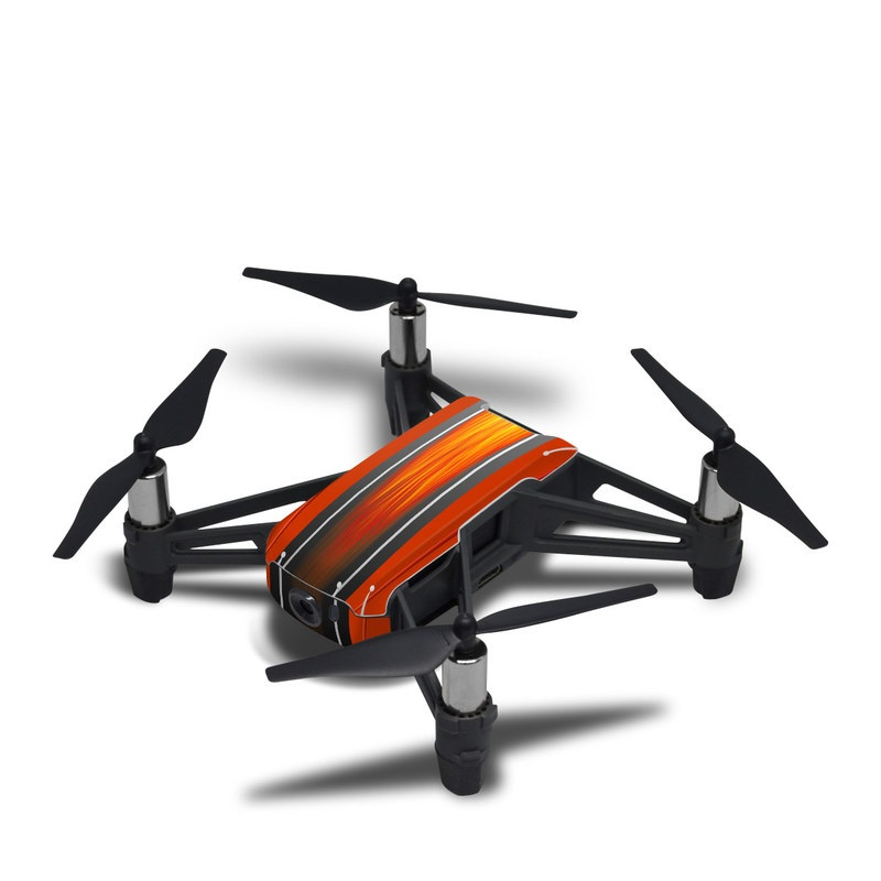DJI Tello Skin design of Orange, Red, Line, Material property, Rectangle, Automotive lighting with red, black, orange, gray colors