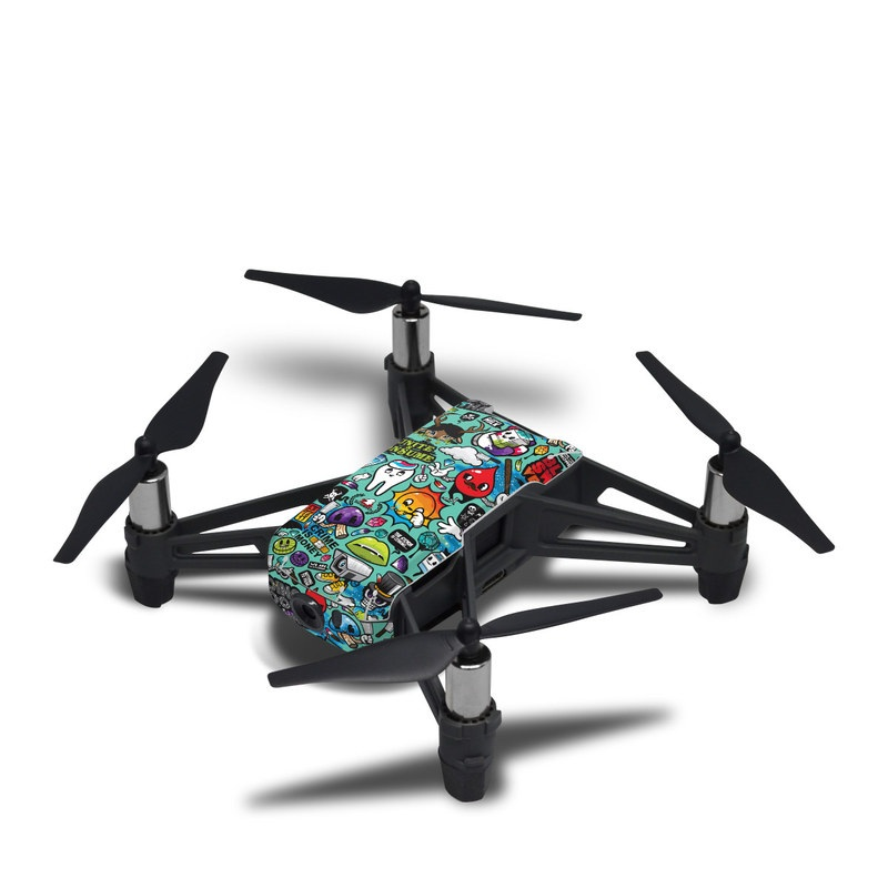 DJI Tello Skin design of Cartoon, Art, Pattern, Design, Illustration, Visual arts, Doodle, Psychedelic art with black, blue, gray, red, green colors