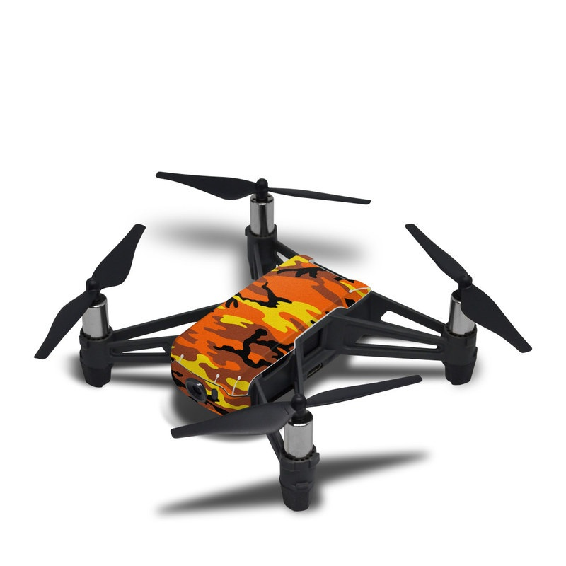 DJI Tello Skin design of Military camouflage, Orange, Pattern, Camouflage, Yellow, Brown, Uniform, Design, Tree, Wildlife with red, green, black colors