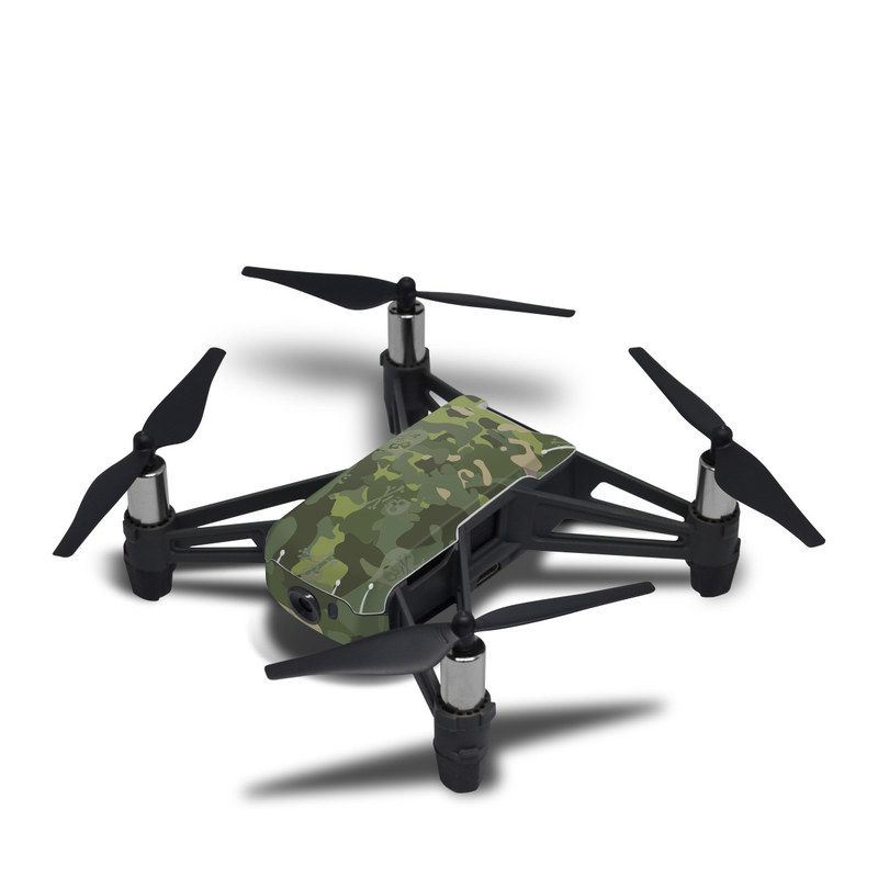 DJI Tello Skin design of Military camouflage, Pattern, Camouflage, Uniform, Clothing, Green, Design, Leaf, Plant, Illustration with green, brown colors