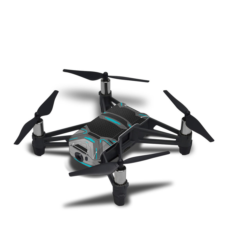 DJI Tello Skin design of Blue, Turquoise, Pattern, Teal, Symmetry, Design, Line, Automotive design, Font with black, gray, blue colors
