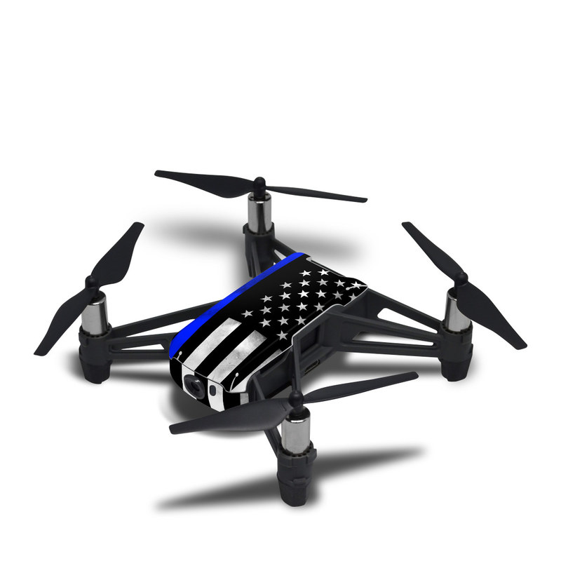 DJI Tello Skin design of Line, Flag, Text, Flag of the united states, Font, Parallel, Symmetry, Black-and-white, Pattern, Graphics with black, white, gray, blue colors