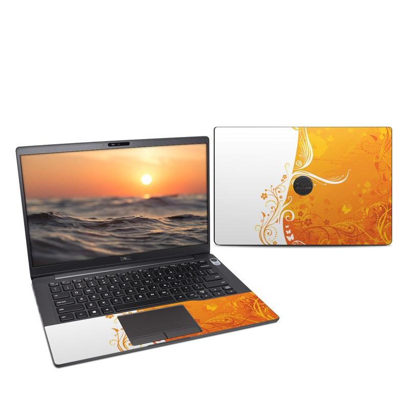 Dell Latitude 7400 Skin design of Orange, Yellow, Pattern, Amber, Design, Ornament, Floral design, Graphics, Graphic design, Visual arts with orange, white, red, pink, yellow colors